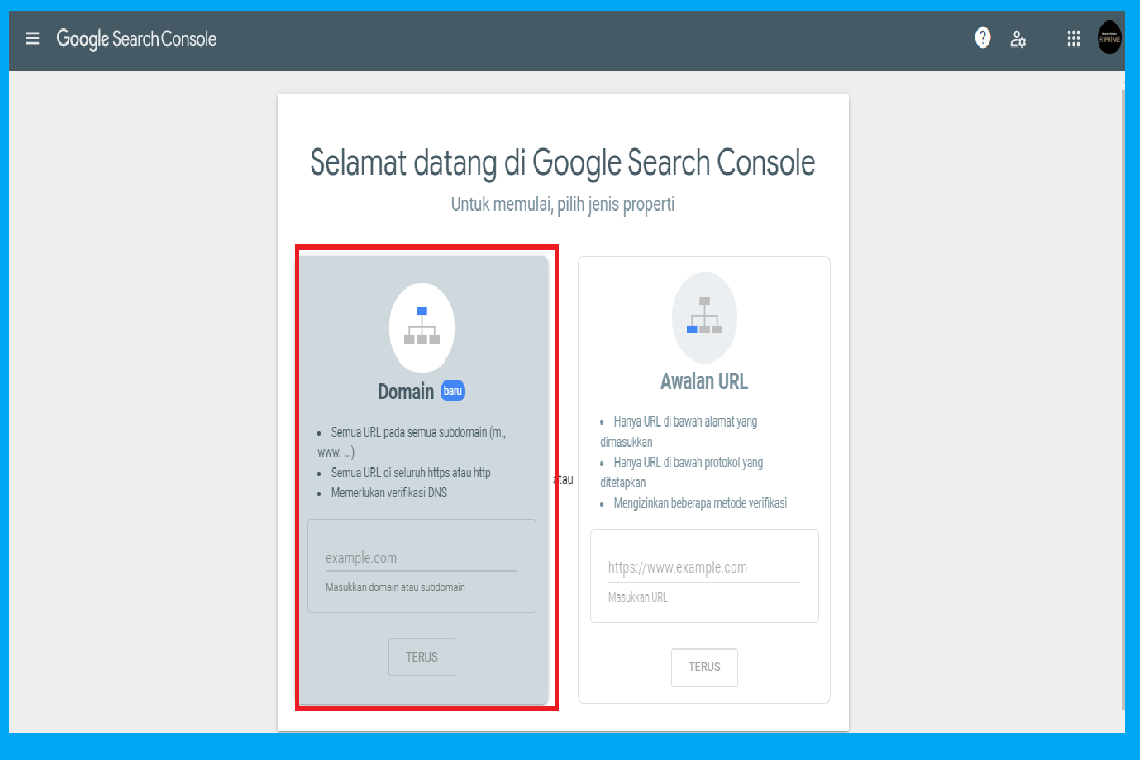 Memverifikasi Kepemilikan Domain Google Search Console